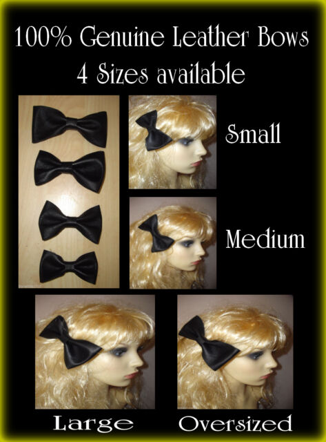 Leather Hair Bow 100% Genuine Leather Bow  Black Leather Hair Bow 4 Sizes