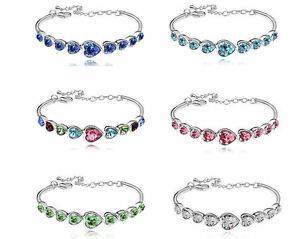 18K-White-Gold-Plated-Love-Heart-Bracelet-Jewellery-made-with-Swarovski-crystals