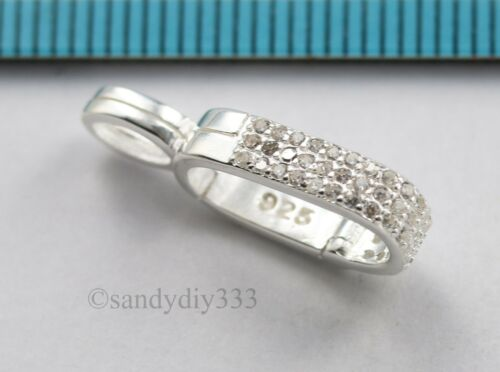 1x BRIGHT STERLING SILVER cz CHANGEABLE DONUT HOLDER BAIL SLIDER #3031