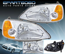 01-03 CIVIC 2 DR CHROME HOUSING AMBER REFLECTOR HEAD LIGHT LAMP 1 PIECE JDM EM2