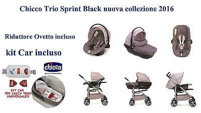 Chicco Trio Sprint Black Nuova Collezione 2016 + Kit Car + Riduttore Ovetto Auto