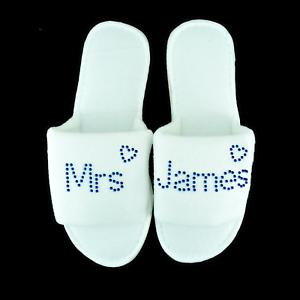 Zapatillas Personalizado Diamante Boda Spa invitado Zapato De Felpa De Corazón Azul y