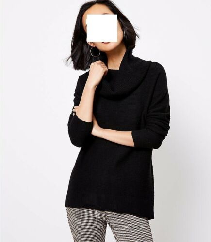 ANN TAYLOR LOFT BLACK COWL NECK TUNIC SWEATER sz Medium ~ NWT
