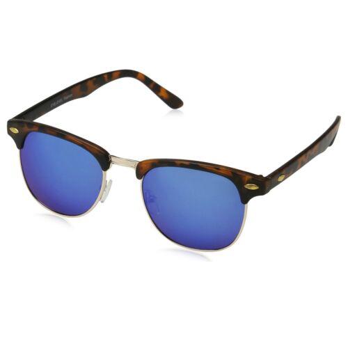 EYELEVEL Vtg Style Reflective Blue Lens Brow Bar Sunglasses Mirrored Brown Black