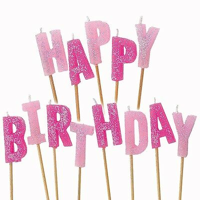 13 Pink Sparkle Happy Birthday Glitter Cake Decoration Pick Candles