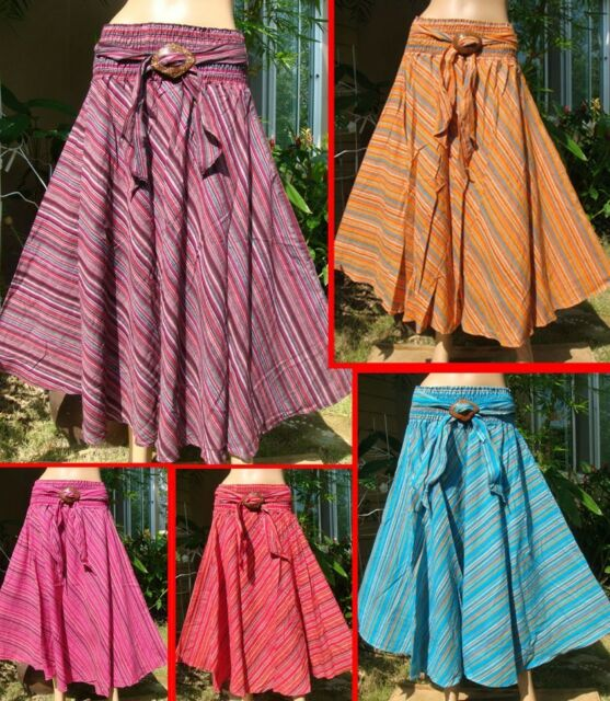 Coconut Summer Broomstick Boho long Skirt 100% Cotton A-Line solids XS-L