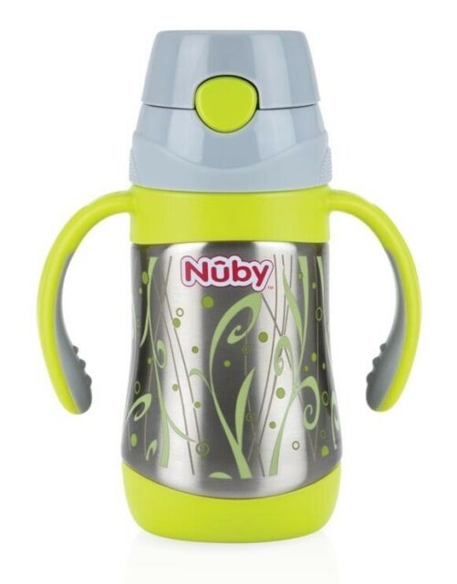 Nuby 2 Handle Stainless Steel Cup Click It with Straw Blue