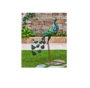 Outdoor garden decor art metal statue bird yard lawn metallic colorful peacock ebay - Outdoor peacock decorations ...