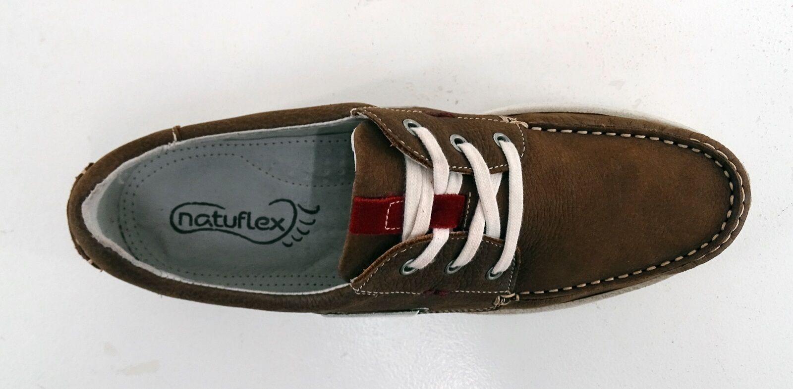 Halbschuhe Natuflex Schnürer 43 Sneaker Kunstleder braun  Gr. 43 Schnürer f21407