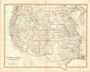 1880 ANTIQUE MAP - UNITED STATES, WESTERN STATES | eBay on