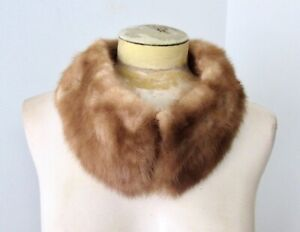 Vtg-50s-60s-light-brown-real-mink-fur-collar-add-to-coats-craft-projects