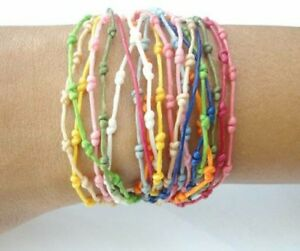 Handcrafted-Pretty-Rainbow-Knot-Wax-Cotton-FAIR-TRADE-Womens-BRACELET-Wristband