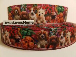 Grosgrain Ribbon Puppy Dogs Jack Russell Pug Scottish Terrier