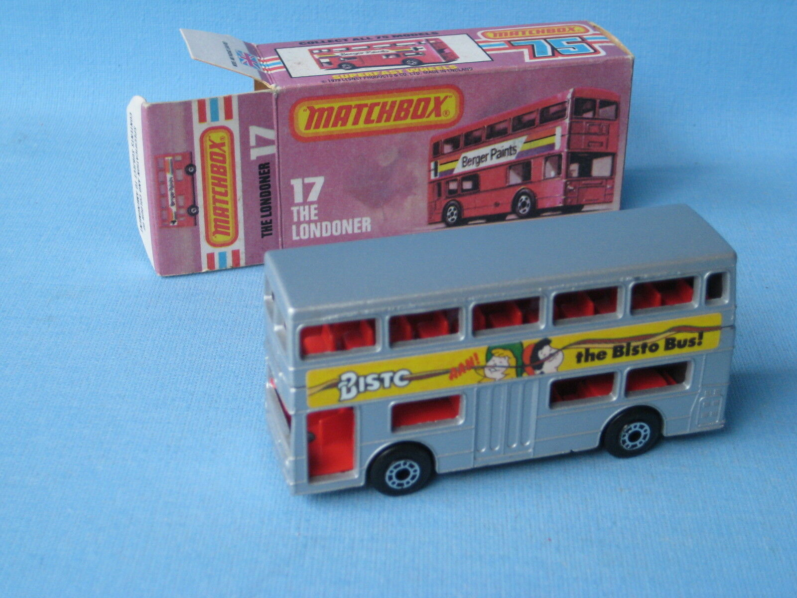 Matchbox SF-17 londinense Bus argento Cuerpo Bisto etiquetas Raro Y En Caja