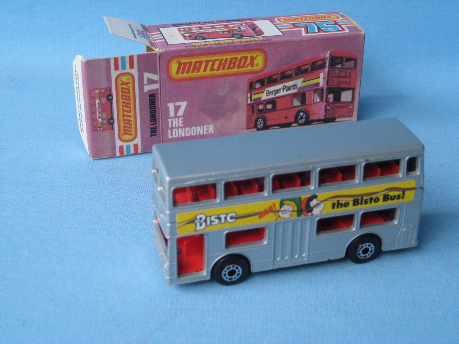 Matchbox SF-17 londinense Bus plata Cuerpo Bisto etiquetas Raro Y En Caja