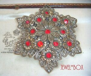 ANTIQUE-ART-DECO-Vintage-Czech-Large-Ruby-Paste-STARBURST-Filigree-BROOCH-C-Clsp