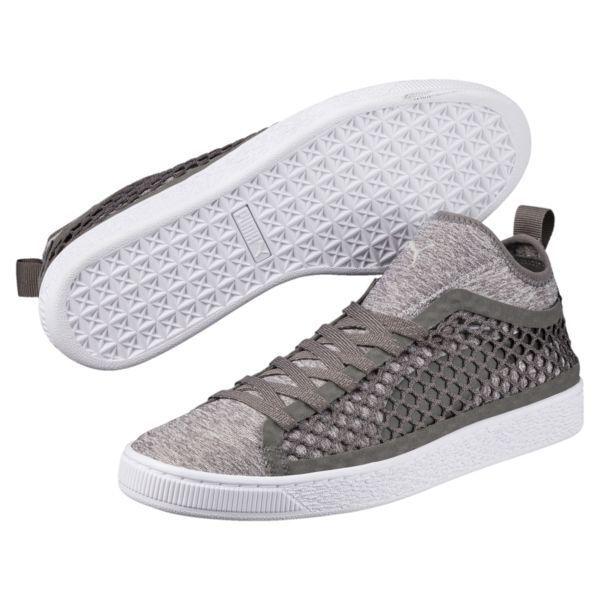 PUMA Homme Smoked Pearl Gris-Puma Blanc Dual Netfit Sneaker