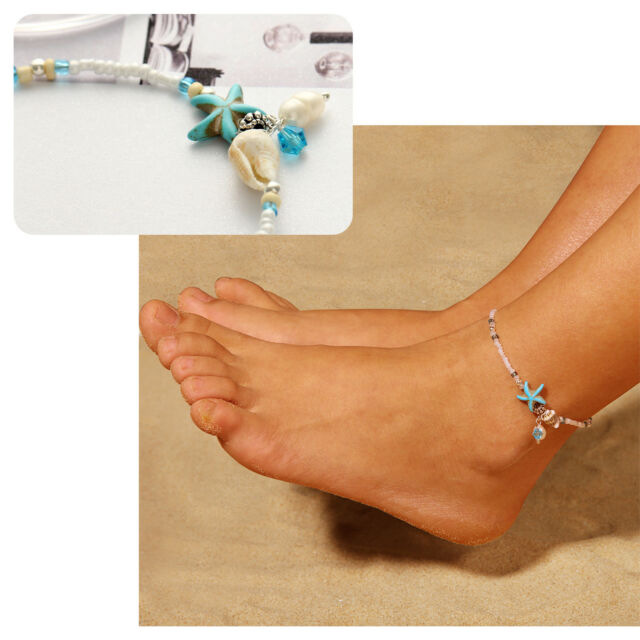 Adjustable Boho Starfish Anklet Beach Shell Ankle Bracelet Womens