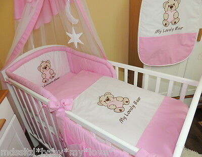 3,4,5,6 or 8 pcs Nursery bedding set/Bumper  fit Cot or Cot Bed/Cotbed /Pink