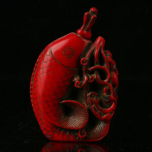 EXQUISITE CHINESE OLD RED CORAL RESIN HAND-CARVED PHOENIX SNUFF BOTTLE