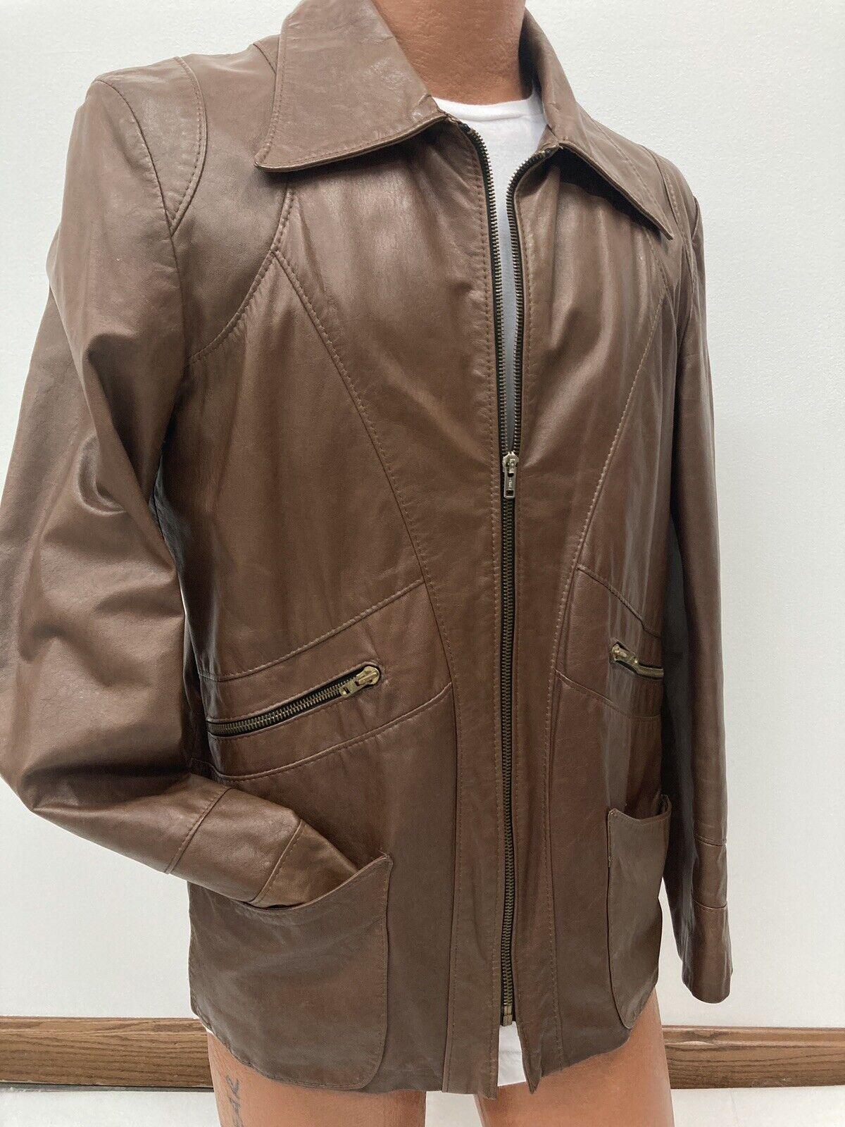 Genuine Vintage 1970s Brown Leather Blazer Jacket… - image 7