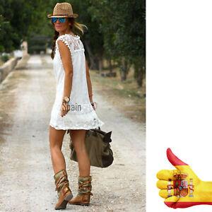 Mujer-Verano-Boho-sin-mangas-encaje-Fiesta-coctel-vestido-de-noche-Playa-Dress
