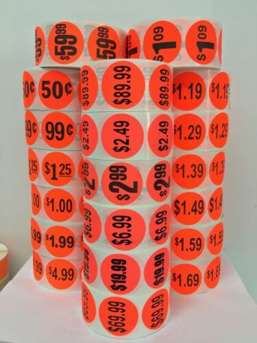 """1000//Roll Br//Red 1.5/"""" Circle $9.99 Labels Sale Retail Grocery Deli Price Point"""