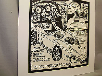 1963 Corvette Sting Ray  Auto  Pen Ink Hand Drawn  Poster Automotive Museum