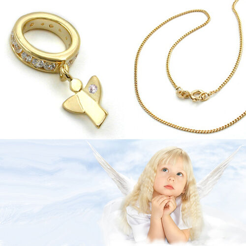 Baby Taufe Schutzengel Echt Gold 750 Zirkonia Taufring mit Kette Silber 925 verg