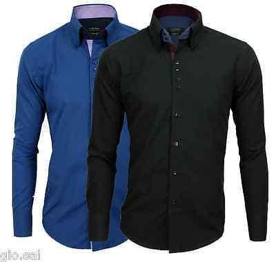 Camicia Uomo Manica Lunga Cotone Slim Casual Colori Vari M-L-XL-XXL