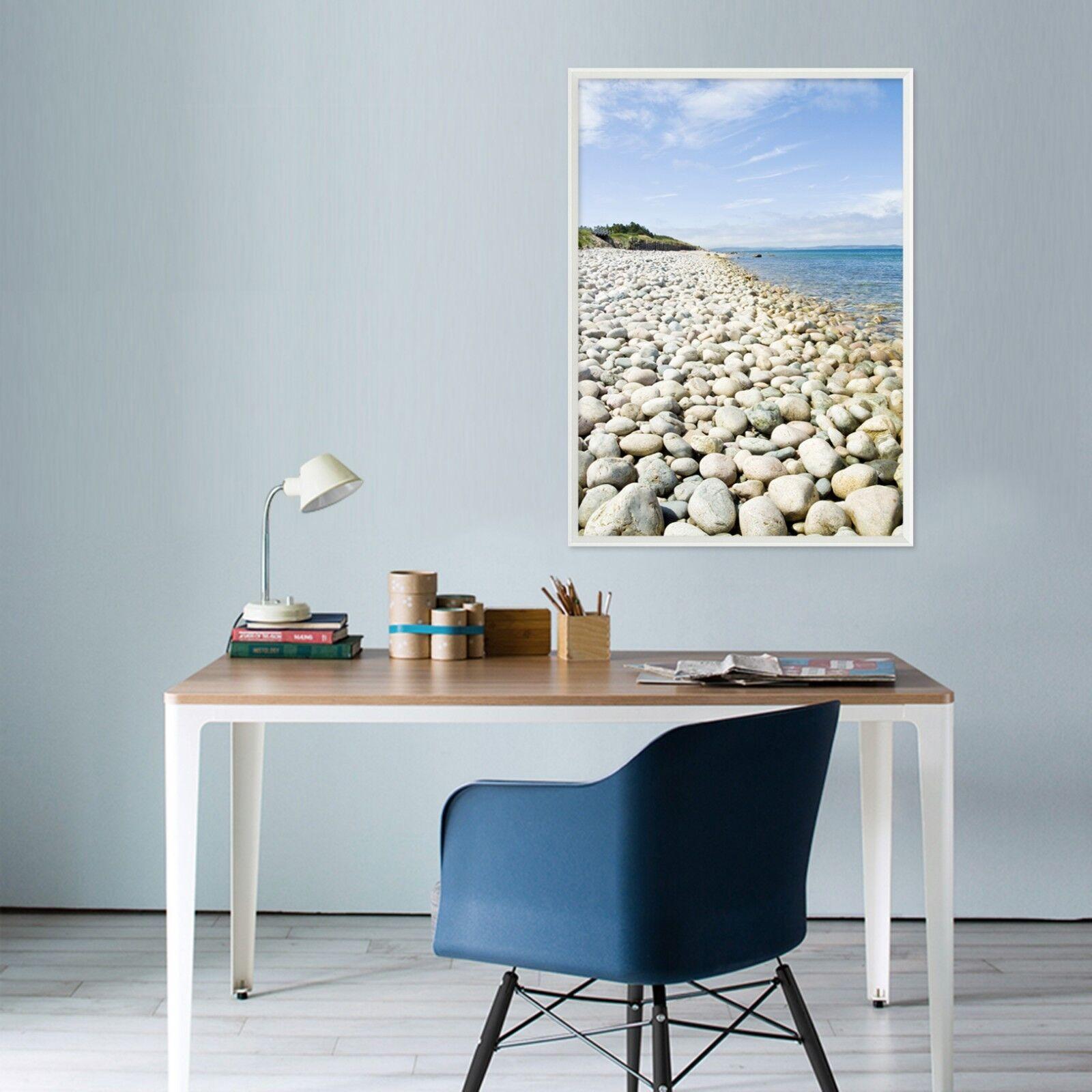 3D White Stones Beach 3 Framed Poster Home Decor Print Painting Art AJ WALLPAPER