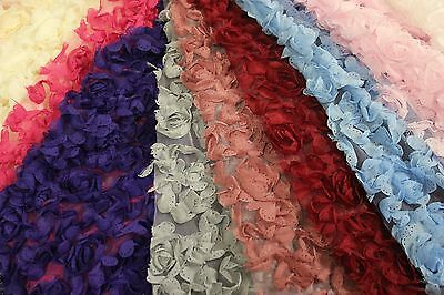 Rosette Fabric, 3d flower lace fabric on polyester mesh, 9 colors, 54 inch width