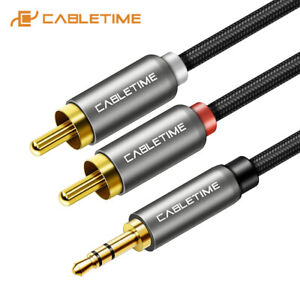 Cabletime-3-5mm-Male-to-2RCA-Female-Stereo-AUX-Audio-Cable-Y-Adapter-Tablet-PC