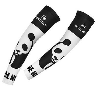 Cycling UV Sun Protection Bike Bicycle Arm Warmers Cuff Sleeve Cover Panda