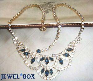 VINTAGE-JEWELLERY-Sparkling-Sapphire-Diamond-Crystal-Rhinestone-Swag-Necklace