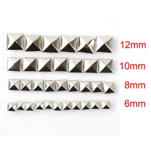 100Pcs DIY Spike Square Rivet Punk Bag Belt Craft Gold Silver Stainless Steel