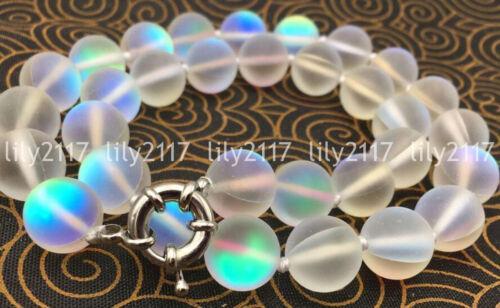 Natural 6-12mm White Gleamy Rainbow Moonstone Round Gems Beads Necklace 16-36/'/'