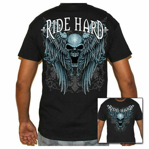 Ride Hard Mens  Black Biker Life T-Shirt Skull /& Wings Graphic
