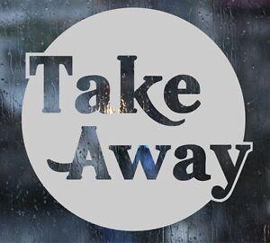 2 X Take Away Shop Fenêtre Autocollants Gravé Effet Graphique Film Dépoli Look-afficher Le Titre D'origine Sensation Confortable