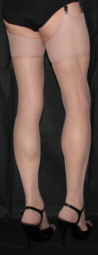 5 Pairs Extra Long Nude//Nude Seam French// Point heel seamed Stockings