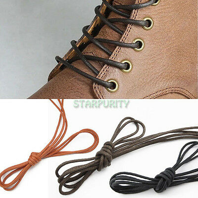 Men Wemen Round Wax Shoe Laces Shoelace Waxed Bootlaces for Leather Boot Brogues