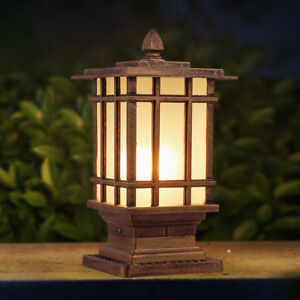 Details About Retro White Gl Square Metal Lantern Outdoor Pillar Mounted Lights Gate Post