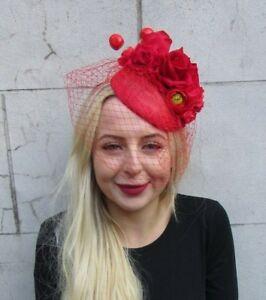 e81873e78757b Image is loading Red-Cherry-Rose-Flower-Birdcage-Veil-Flower-Fascinator-
