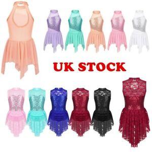 UK-Kid-Girl-Ballet-Dance-Leotard-Dress-Sequins-Modern-Ballroom-Dancewear-Costume