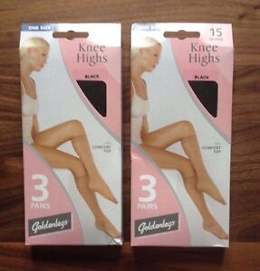 Freepost. BLACK 2 Pairs,15 Denier Large Support Tights BNIB Goldenlegs