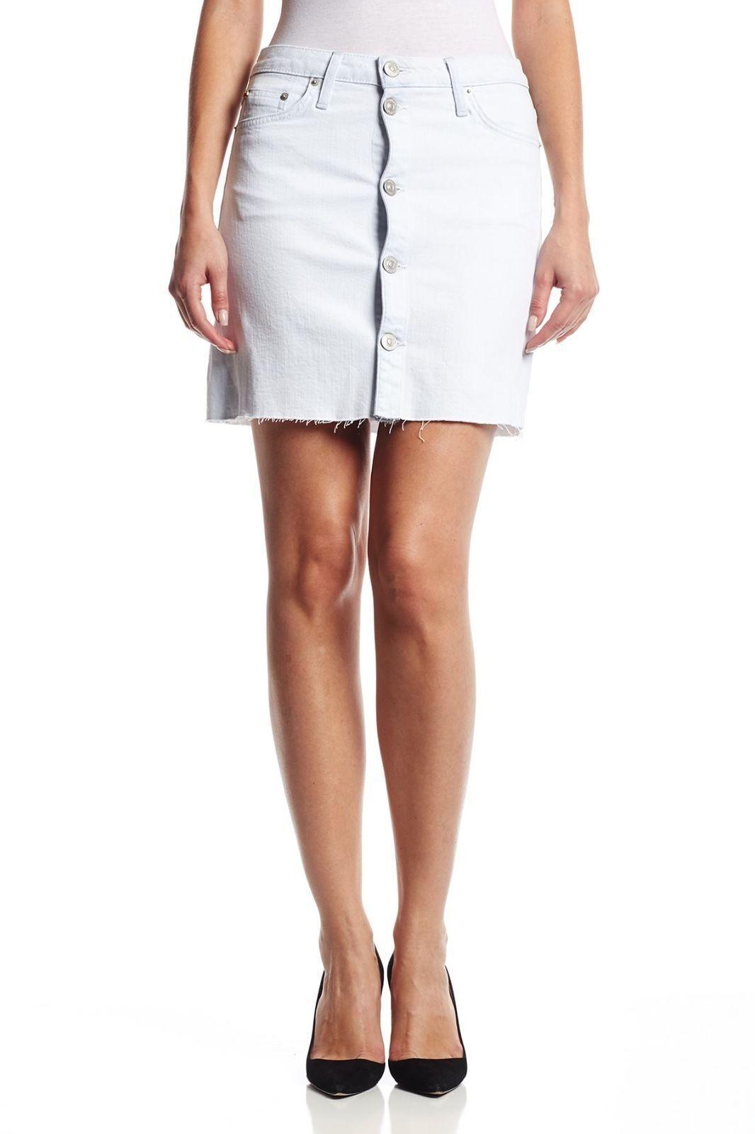 NWT Hudson Jeans Light bluee Denim Cammy Button Front Pencil Mini Skirt 30