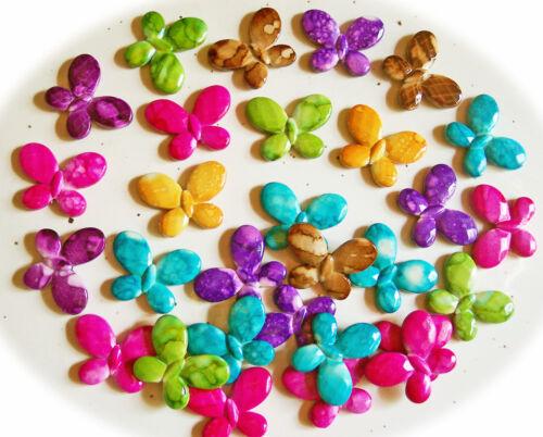 10 hermosas motivo perlas mariposa varios colores mármol 34 mm agujero aprox 1,5 mm