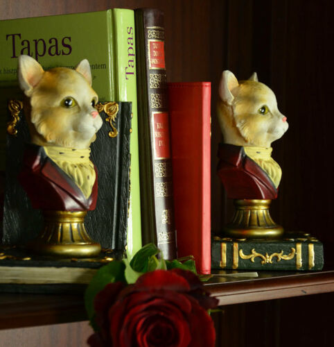 Zwei Buch Stützen Ständer Halter Antik Katzen Gentleman Figuren Art Deco Antik