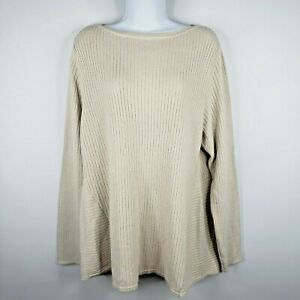 J-Jill-Ribbed-Knit-Pullover-Tunic-Sweater-L-Ivory-Off-White-Beige-Boat-Neck