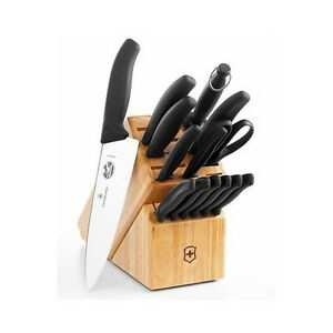 Knife block set victorinox kitchen 15 pc stainless steel for Victorinox kitchen set 5 pieces